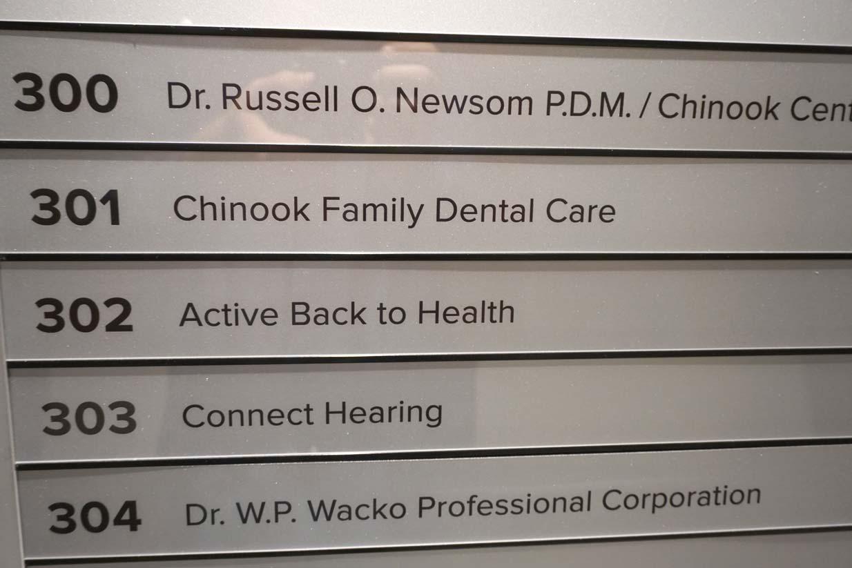 Chinook Family Dental | Hallway Sign